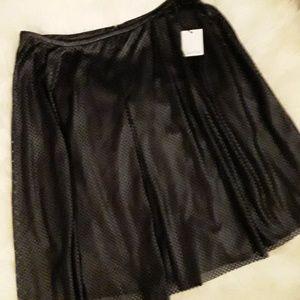 CALVIN KLEIN: New Soft black leather skirt